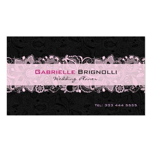 Black & Light Pink Vintage Floral Lace Business Cards