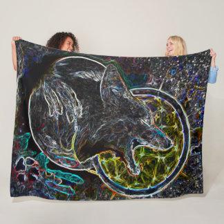 Black Light Tribal Black Fox Spirit Art Fleece Blanket