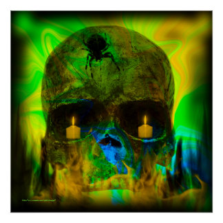 Black Lighted Gothic Skull Print