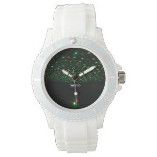 Black lights shower Sporty white watch