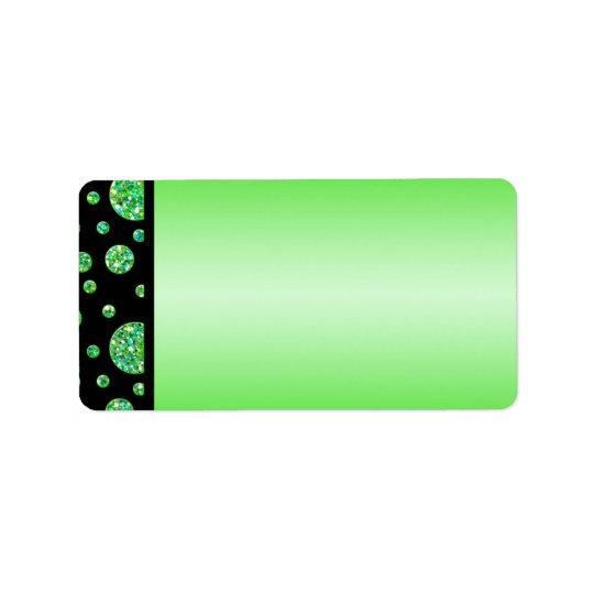Black, Lime Glittery Dots Address Label Blank