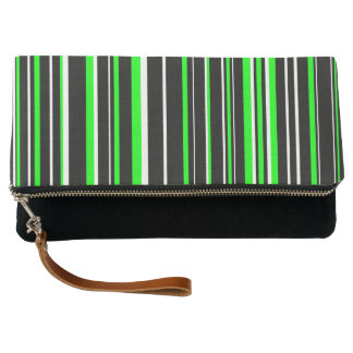 Black, Lime Green, and White Barcode Stripe Clutch
