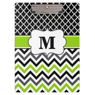 Black Lime Green Chevron Monogram Clipboard