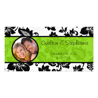 Black/Lime Green Floral Damask Photo Announcement Photo Card