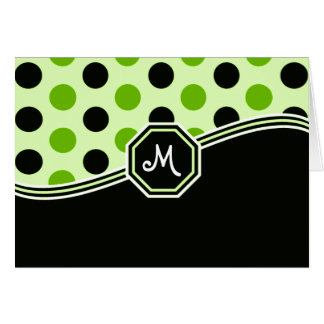 Black & Lime Green Monogram Cards