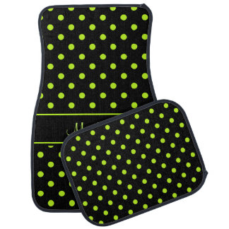 Black Lime Green Polka Dot Pattern Personalized Car Mat
