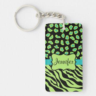 Black, Lime Green & Turquoise Zebra & Cheetah Skin Double-Sided Rectangular Acrylic Keychain