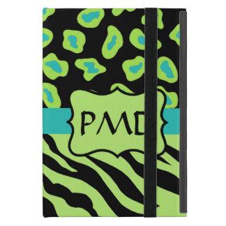 Black, Lime Green & Turquoise Zebra & Cheetah Skin iPad Mini Cases