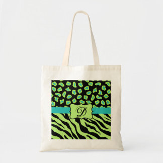Black, Lime Green & Turquoise Zebra & Cheetah Skin Tote Bag