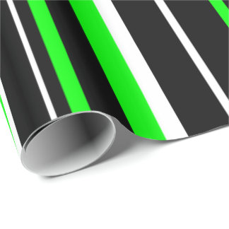 Black, Lime Green, & White Stripe Wrapping Paper