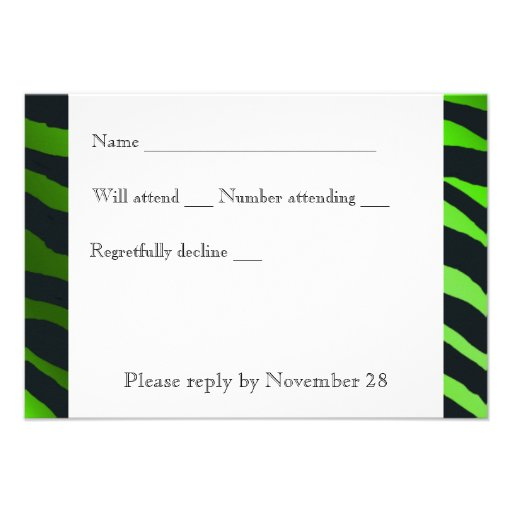 Black Lime Green  Zebra Stripes rsvp with envelope Personalized Announcement