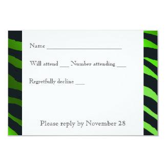 "Black Lime Green  Zebra Stripes rsvp with envelope 3.5"" X 5"" Invitation Card"