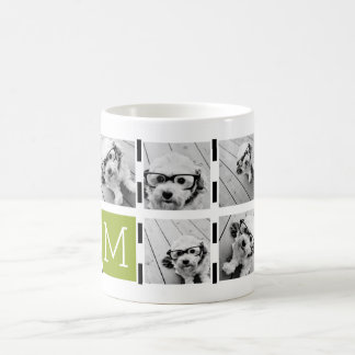 Black Lime Striped Photo Collage Custom Monogram Classic White Coffee Mug