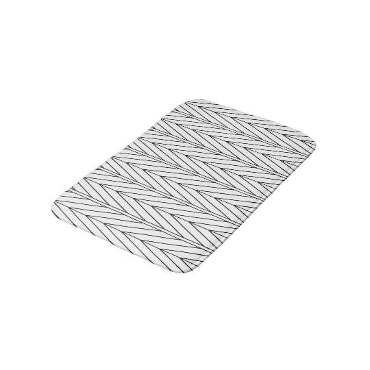 Black Line Chevron Design Bathroom Mat