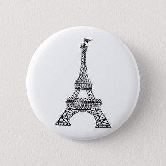 Black Line Eiffel Tower 2 Inch Round Button