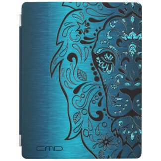 Black Lion Sugar Skull Metallic Blue Background iPad Cover