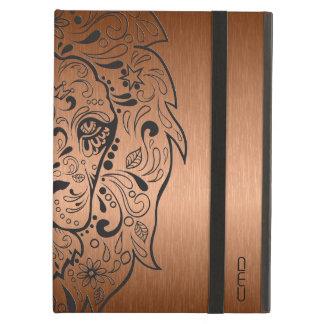 Black Lion Sugar Skull Metallic Copper Background Case For iPad Air