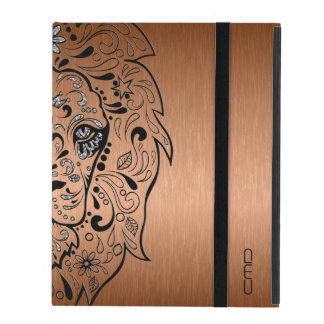 Black Lion Sugar Skull Metallic Copper Background iPad Cover