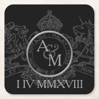 Black Lion Unicorn Crown Emblem Save The Date Square Paper Coaster