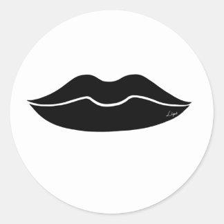 Black Lips Classic Round Sticker