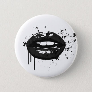 Black lips stylish fashion kiss makeup artist 2 inch round button