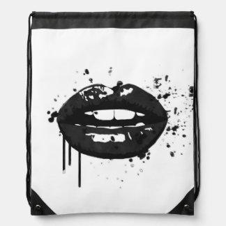 Black lips stylish fashion kiss makeup artist drawstring bag