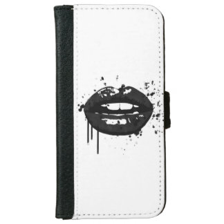 Black lips stylish fashion kiss makeup artist iPhone 6 wallet case