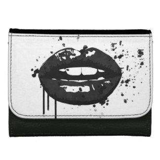 Black lips stylish fashion kiss makeup artist leather wallet for women