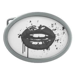 Black lips stylish fashion kiss makeup artist oval belt buckles