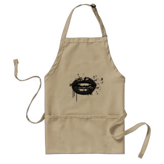 Black lips stylish fashion kiss makeup artist standard apron