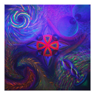 Black lit Cosmic dance with the sacred chapel Perfect Poster