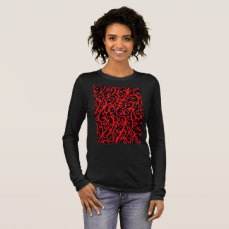 Black long sleeve T-shirt abstract art on front.