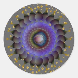 Black Lotus Flower Gold Confetti Classic Round Sticker
