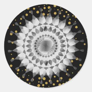 Black Lotus Flower Gold Confetti Wedding Floral Classic Round Sticker