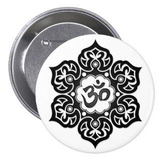 Black Lotus Flower Om on White Button