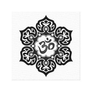 Black Lotus Flower Om on White Canvas Print