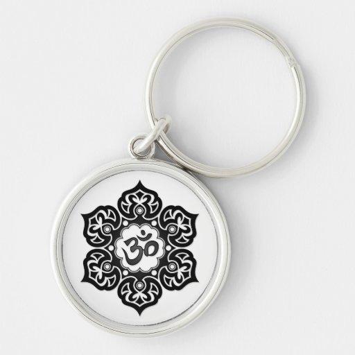 Black Lotus Flower Om on White Key Chain