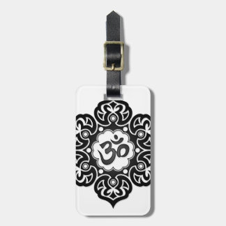 Black Lotus Flower Om on White Travel Bag Tags