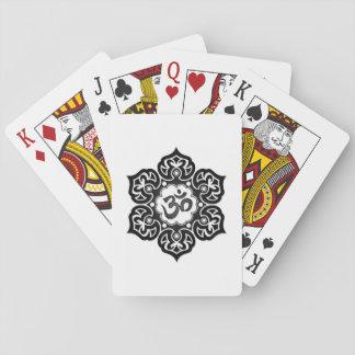 Black Lotus Flower Om on White Card Deck