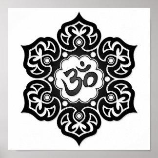 Black Lotus Flower Om on White Poster