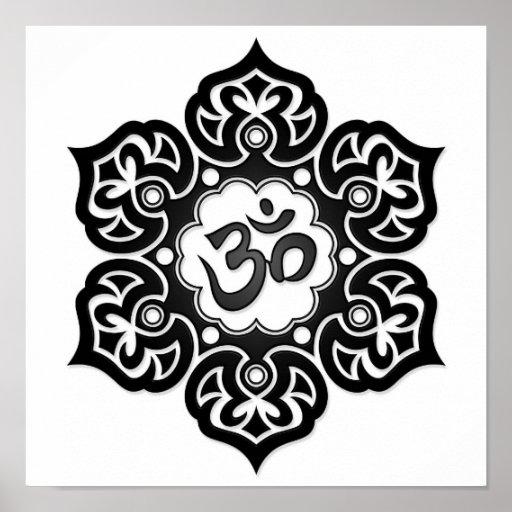 Black Lotus Flower Om on White Posters