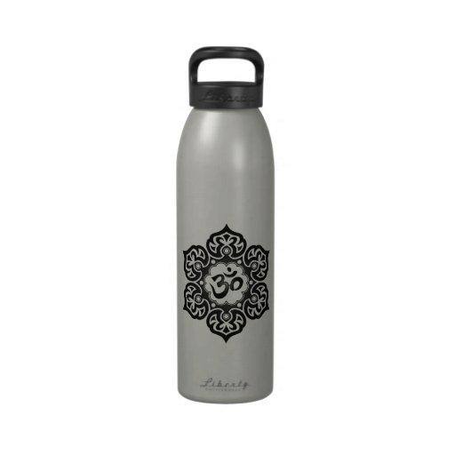 Black Lotus Flower Om Drinking Bottles
