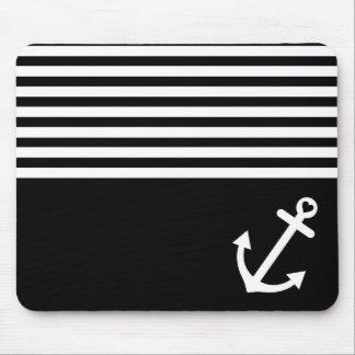 Black Love Anchor Nautical Mouse Pad