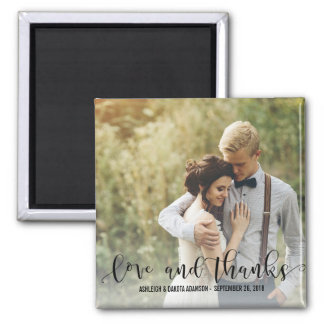 Black Love And Thanks Script | Personalized Photo Square Magnet