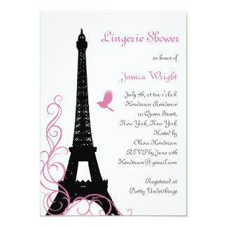Black Love Birds Lingerie Shower Card