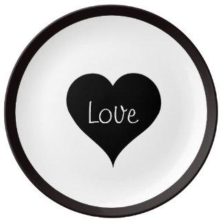 BLACK LOVE HEART Text Print Plate