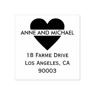 black love heart with couple names and address rubber stamp