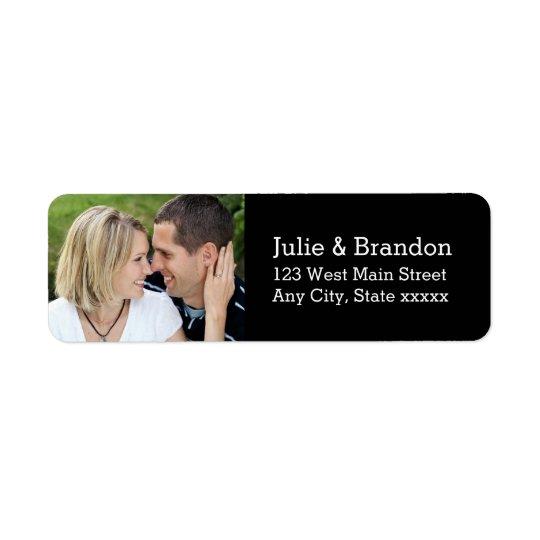 Black Love Wedding Photo Return Address Labels
