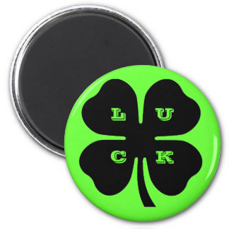 Black LUCK 4 Leaf Clover on Green 2 Inch Round Magnet