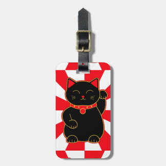 Black Lucky Cat Luggage Tag